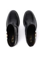 Via Roma 15 Ankle Boot In Black Crocodile Print Leather - NERO