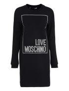 Love Moschino Logo Print Cotton Sweatdress - black