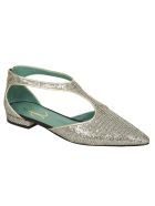 Paola D'Arcano Pointed Toe Metallic Back-zip Sandals - Platinum