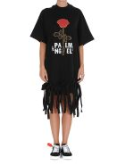 Palm Angels Rose Knot Dress - Black White
