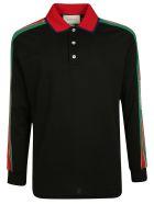 Gucci Logo Stripe Polo Shirt - Black