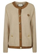 Gucci Round Neck Ribbed Cardigan - Beige