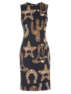 Versace Collection Dress W/s Pencil Baroque Printing - Nero Stampa