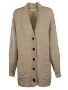 Isabel Marant V-neck Side Patch Long Buttoned Cardigan - beige