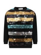 Sonia Rykiel Black Sweashirt For Girl With Sequins - Multicolor