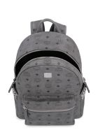 MCM Stark Visetos Backpack With Studs - grey