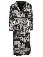 Moschino Comic Print Belted Dress - white black