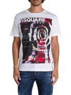 Dsquared2 T-shirt Girocollo A Maniche Corte Con Stampa Frontale - Bianco
