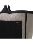 Valextra Natural & Black Canvas & Leather Bag - Natural/black