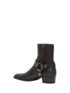 Saint Laurent Wyatt Harness Boots In Stone-washed Leather - Nero