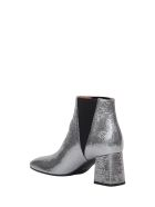 Pollini Silver Laminated Leather Bootie - Argento