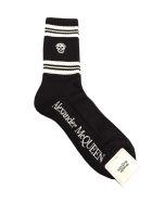 Alexander McQueen Socks Stripe Skull - Black/ivory