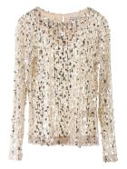 In The Mood For Love Mame Sequined Top - BEIGE SILVER (Beige)