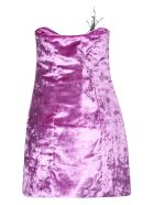 ATTICO Feathered Detail Short Dress - Pink