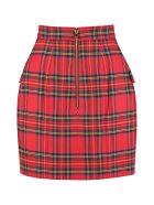 Balmain Wool Wrap Skirt - red