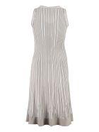 D.Exterior Lurex Knitted Dress With Chevron Pattern - Beige