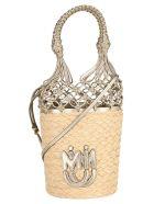 Miu Miu Woven Straw Bucket Bag - NATURALE+PIRITE