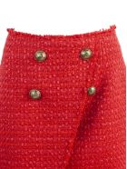Balmain Short Red Tweed Skirt - Rosso