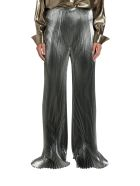 Alberta Ferretti Pleated Pants In Silver Lamé - Argento