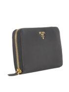 Prada Saffiano Zip Around Wallet - Black