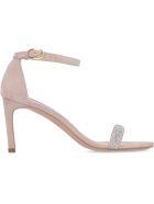 Stuart Weitzman Nunakedstraight Embellished Suede Sandals - Pink