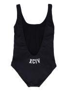 GCDS One-piece Swimsuit With Logo - black