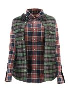 R13 Double Checkered Shirt - RED BLUE PLAID W GREEN (Red)