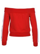 Palm Angels Palm Angels Off-shoulders Zipped Sweatshirt - RED