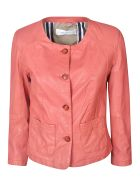 Bully Buttoned Leather Jacket - Hibiscus