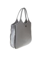 Emporio Armani Hobo Grey Leather Tote With Zip Around - Gray