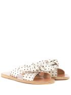 Ancient Greek Sandals Ancient Greek Thais Black And White Polka Dot Leather Sandals - MULTICOLOR