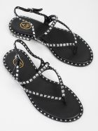 Ash Peps Studded Sandals - Black Silver Studs