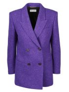 Saint Laurent Square Tweed Blazer - Pink & Purple