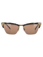 Gucci Bamboo Effect Cat-eye Sunglasses - BLACK / BROWN