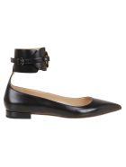 Francesco Russo Calf Leather Ballerina - Black