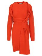 Bottega Veneta Intrecciato Knitted Dress - ORANGE