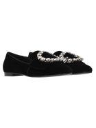 Dolce & Gabbana Dolce&gabbana Jackie Velvet Slippers With Bejewelwd Buckle - BLACK