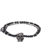 Alexander McQueen Beads And Skull Necklace - BLACK/SILVER