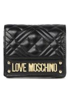 Love Moschino Black New Shiny Quilted Ecoleather Wallet - Black