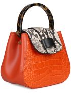 Nico Giani Myria Croco Print Leather Handbag - Orange
