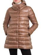 Herno Hoded Padded Coat With Velvet Taping - Marrone