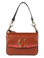 Chloé Logo Plaque Shoulder Bag - Sepia brown