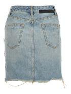 Ben Taverniti Unravel Project Unravel Bleach Denim Triple Zip Skirt - INDIGO