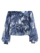 For Restless Sleepers 'huge Jungle' Blouse - Blu