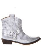 Coral Blue Silver Fabric Texan Vintage Ankle Boots - Laminate silver