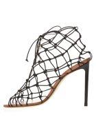 Francesco Russo Black Leather Fishnet Sandals - Black