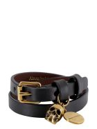 Alexander McQueen Leather Bracelet With Medallion And Skull - black
