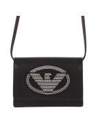 Emporio Armani Embellished Logoed Black Faux Leather Shoulder Bag - Black