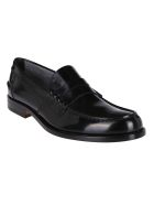 Tod's Black Leather Penny Loafers - Black