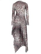 Marques'Almeida Dress Printed Satin W/pleated Skirt - Leopard